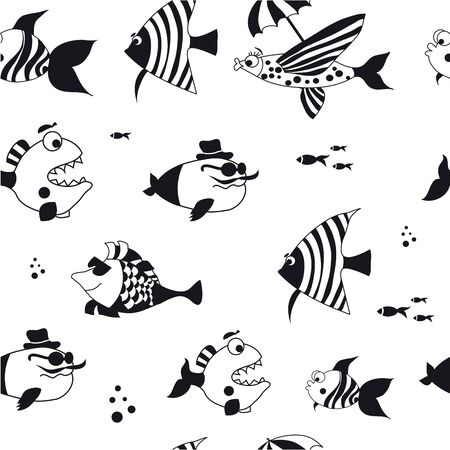 Seamless pattern with cute fish, black and white. Vettoriali
