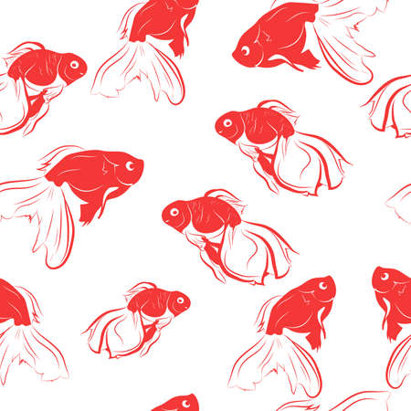 Seamless vector pattern of red goldfish.