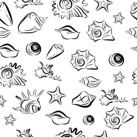 Seamless vector pattern with the image seashells. Ilustracja