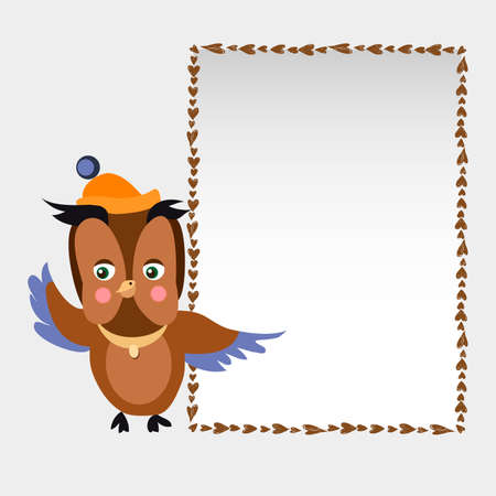 Vector image of a character owl holding. 일러스트