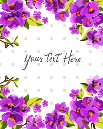 Vector cute floral frame, imitation watercolor, background object. Ilustrace