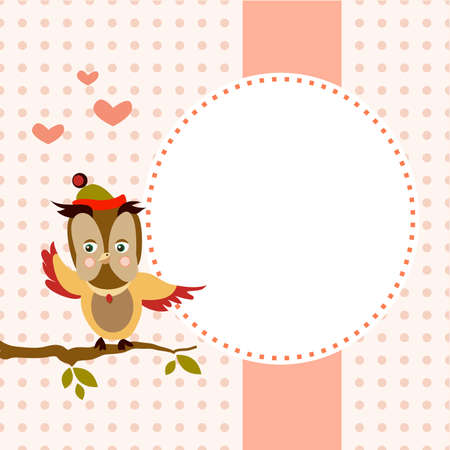 Children's lovely frame owl, vector illustration.