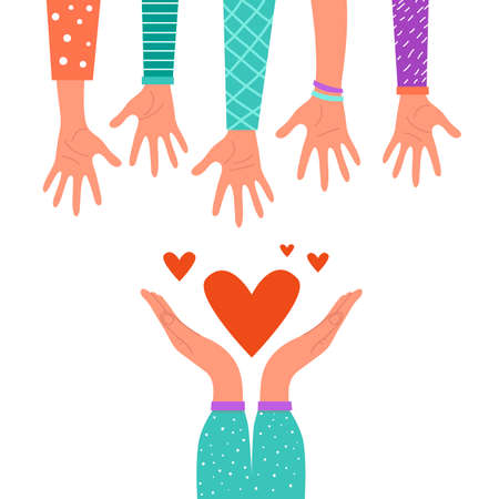 Charity concept, hands giving love, help, etc. Vector stock illustration, flat design. Isolated on a white background.