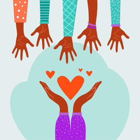 Charity concept, hands giving love, help, etc. Vector stock illustration, flat design.