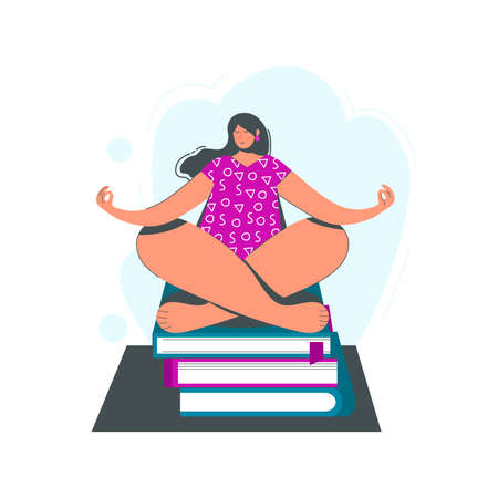 Girl sitting in yoga pose on books. Vector illustration. Work, self-development concept. Flat modern design. Woman sitting on a white background