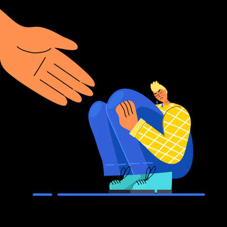Consolation of a sad guy, holding out his helping hand. The concept of empathy. Vector stock illustration. Flat design. Illustration
