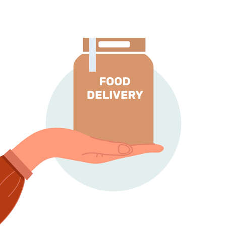 Vector illustration. The concept of food delivery to the door during an epidemic disease. Separate on a white background. Vector illustration.