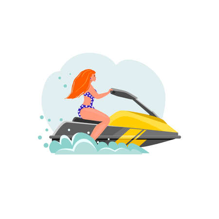 A young girl riding a jet ski. Flat design. Summer vacation, tourism. Vector illustration. Isolated on a white background.