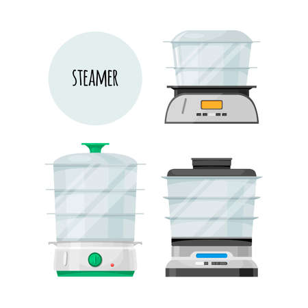 Image of a double boiler, kitchen appliance. Set. Flat design. Vector illustration. Isolated on white background.