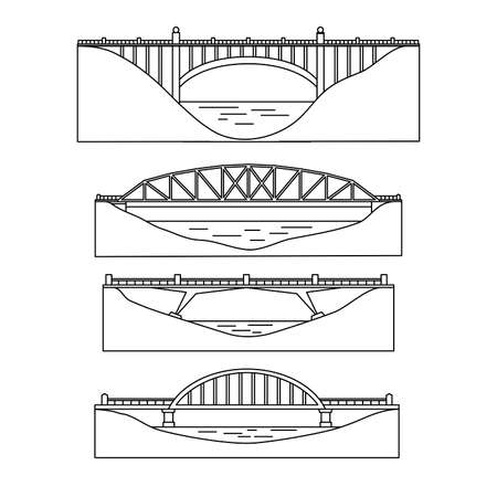 The image of bridges, architectural structures. Profile. Set. Linear design. Vector illustration. Isolated on white background.