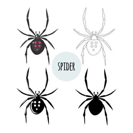 Spider. Collection of graphic images. Isolated on white background. Flat design.