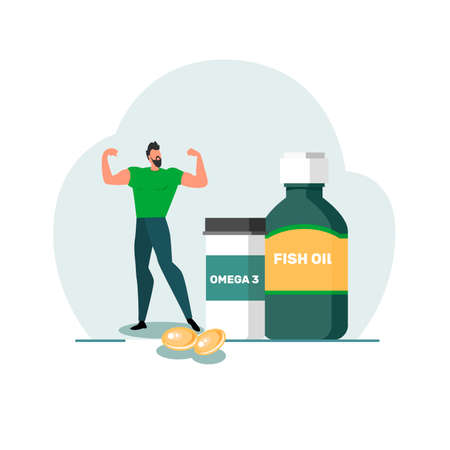 Healthy lifestyle concept. Fish oil food supplement. An image of a strong man and medical supplies. Vector stock illustration.