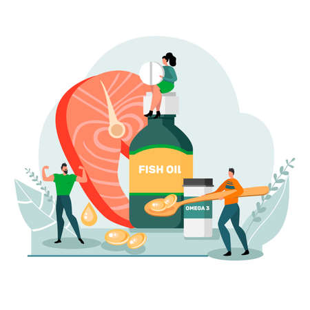 Healthy lifestyle concept. Fish oil food supplement. Image of people and medical supplies. Vector stock illustration.