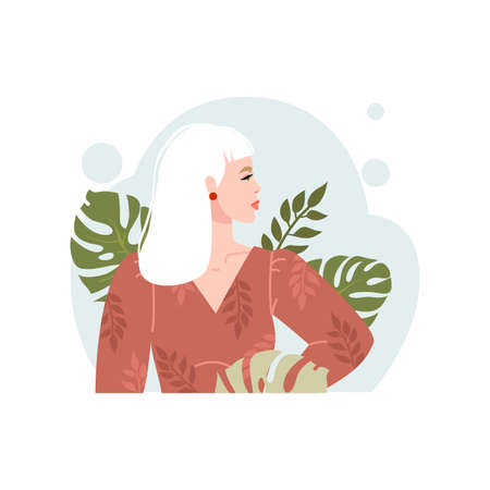 Portrait of a successful girl. The image of a business woman. Vector illustration, flat design. Isolated on white background.