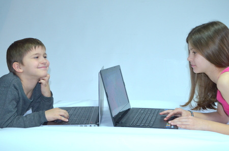 Children with laptops