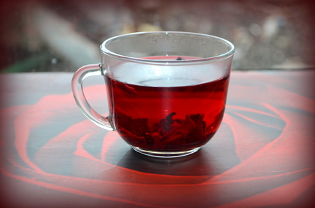 diuretic: Red Hibiscus tea Stock Photo