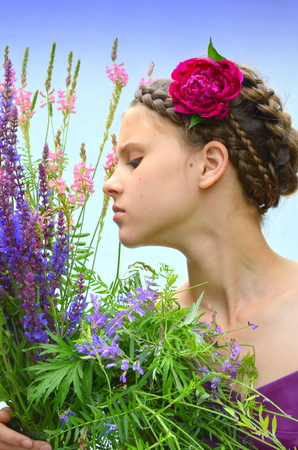 Hairstyle with French braids and peony photo