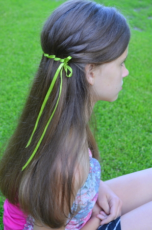 neckband: Hair Braiding with ribbon