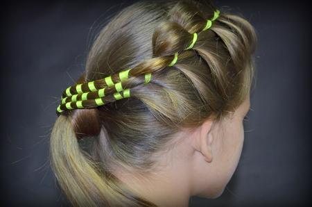 braiding: Hairstyle. hair Braiding Stock Photo