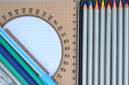 protractor: Colored pencils, pen, protractor