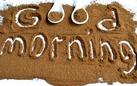 drowsiness: The inscription on the ground coffee good morning