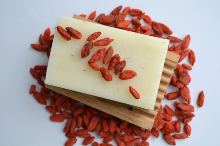 antiaging: Natural Soap with goji berries Stock Photo