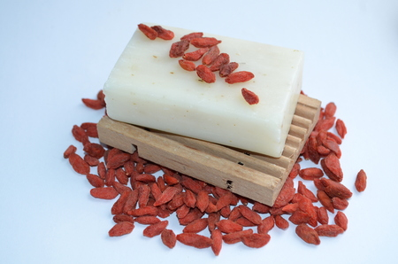 natural soap: Natural Soap with goji berries Stock Photo