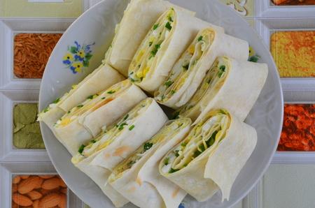pita: Rolls with pita bread Stock Photo