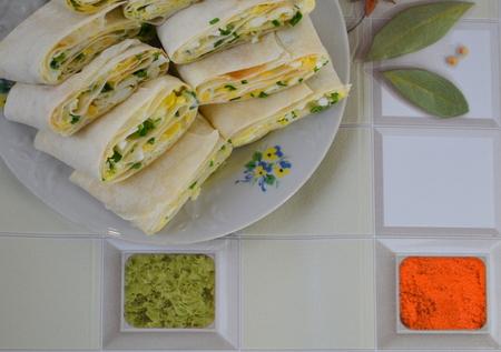pita bread: Rolls with pita bread Stock Photo