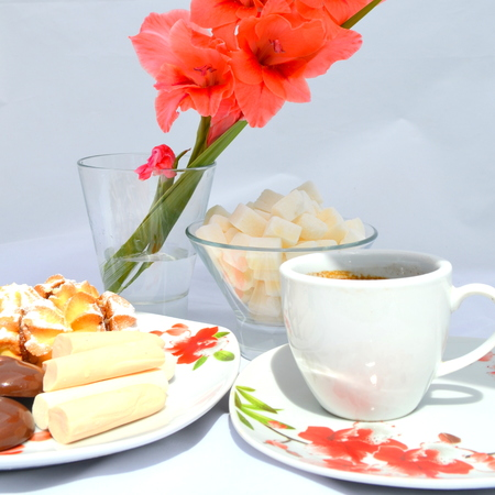 Good morning, breakfast - cookies, candy and coffee Stock Photo