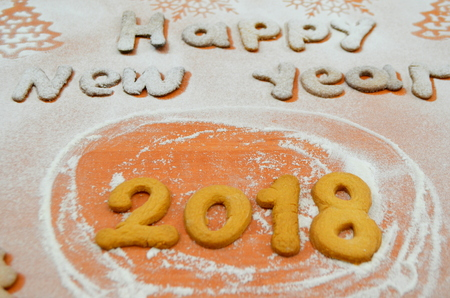 New Year cookies with powdered sugar under