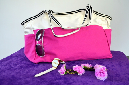 Large bag and accessories - sunglasses, wristwatch Lizenzfreie Bilder