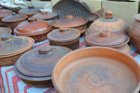 Different ceramic tableware is a dish, pot, pan