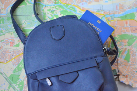 Journey. Bag, world map and passport