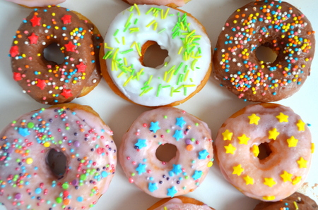 donuts with different glazes