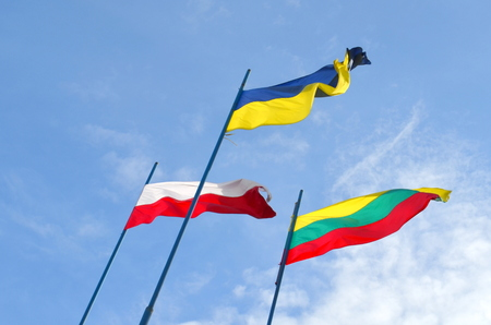 Flags of Lithuania, Ukraine and Poland against the sky Фото со стока