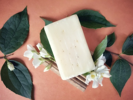 Natural soap with jasmine flowers