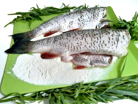 Cooking fish, carcasses of raw fish and flour