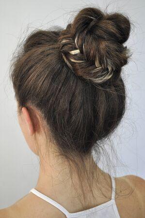 Hairstyle on long hair Standard-Bild