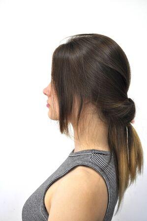 Hairstyle on long hair 版權商用圖片