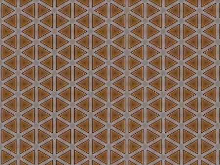 mesa de madera tallada superficie esmerilada con un patrón geométrico triangular