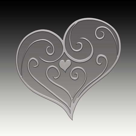 Elegant patterned volumetric silver heart on a background with a gradient Banco de Imagens