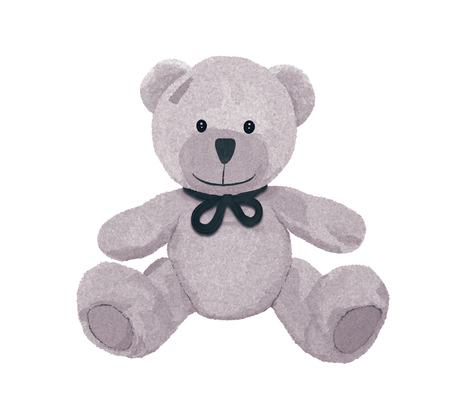 Beautiful gray teddy bear with a bow and patch