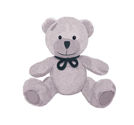 Bel ours en peluche gris avec un nœud et un patch