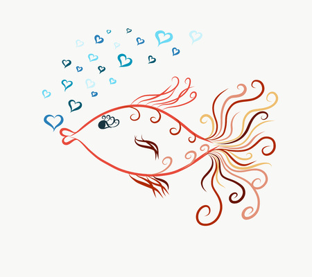 colored swimming graceful goldfish, painted lines with swirls, blow bubbles in the form of heart Banco de Imagens