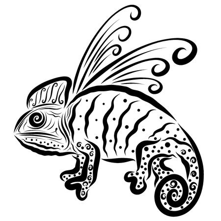 Dragon, like a chameleon, or winged chameleon