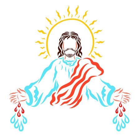 Savior Jesus calling people to save and heal