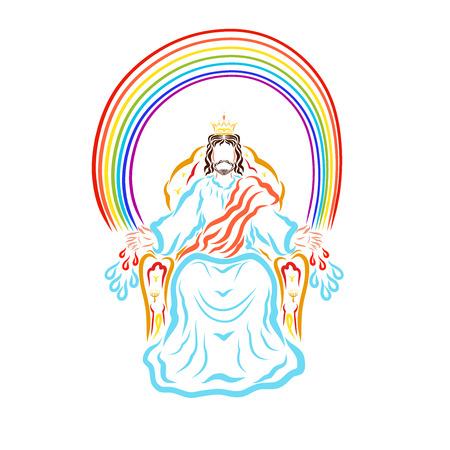 Der Gewinner Jesus auf dem Thron unter dem Regenbogen sendet den Menschen Heilung und Reinigung Standard-Bild
