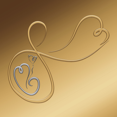 Gold and silver abstract image of pregnant woman and child, creative