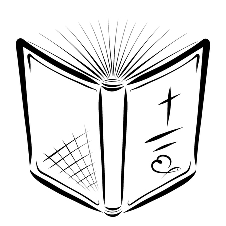 The Bible is open for reading, cross, heart and fish